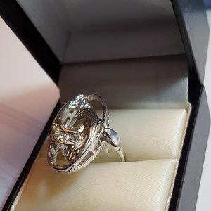 Swarovski Swan Mark with Crystals Sparkle size 6.5